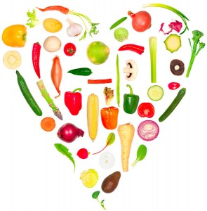 foods arranged in the shape of a heart